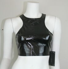 New Lip Service Black Patent Vinyl PVC Goth Steampunk Rocker Top XS S