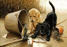 2016 New DIY Paint By Number 16*20 Kit Lovely Dogs On Canvas