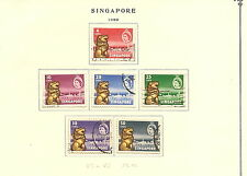 SINGAPORE Stamp..(40 stamps).. 1959-1966.. most are Hinged on Scott paper.