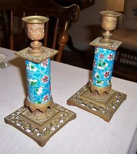 pair Antique Longwy French Pottery candlesticks aesthetic bronze and pottery