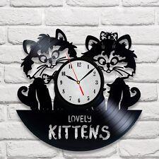 Reloj De Pared diseño de los gatitos Vinyl Record Hogar Arte Playroom Dormitorio Shop Vet Oficina