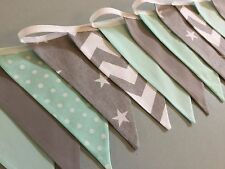 GREY MINT GREEN STAR CHEVRON NURSERY HANDMADE FABRIC BUNTING baby boy modern