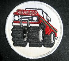 HIGH RIDER EMBROIDERED SEW ON PATCH BIG WHEELS TRUCK CAR ATV  ADVERTISING NOS
