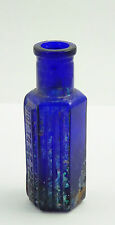 Antique Small 1800s Antique Blue Cobalt Glass Bottle Not to be taken Embossed