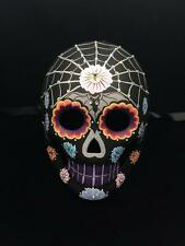 Day of the Dead Mask Dia De Los Muertos Black Skeleton w/Gem Stones Design Mask