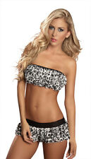 Grey Black & White Frilly Elasticated Lined Bandeau Crop Top & Short Skirt 8-10