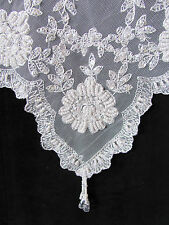 Stunning & Elegant White Beaded Lace & Embroidered Table Topper 85 x 85cm