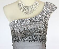 NWT Jovani Size 2 Short Knee-Length Evening Cruise Night $500 Prom Silver Dress