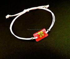 Real four leaf clover adjustable pink bracelet with dark pink rectangular shape
