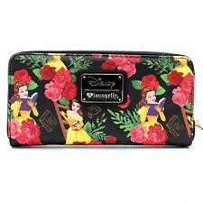 "NEW Loungefly X DISNEY Black ""BELLE FLORAL"" Zip Around Wallet -SALE"