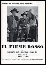 PUBBLICITA' FILM FIUME ROSSO JOHN WAYNE ZEUS FILM CLASSICO WESTERN 1955