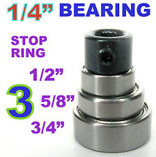 "4pc Top Mounted 1/2, 5/8, 3/4 Bearing & Stop Ring for 1/4"" SH Router Bit sct-888"