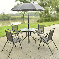 6 PCS Patio Garden Set Furniture 4 Folding Chairs Table with Umbrella Gray