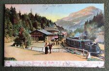 CPA. BRUNIG. Buffet de la Gare. Train. Locomotive. Suisse. 1904.