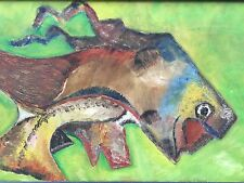 Vtg 50s 60s Abstract Fish Painting Mid Century Modern Wall Hanging Retro Art