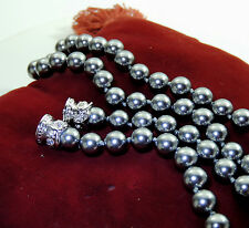 Vintage NOLAN MILLER Signed Necklace Glass Black Pearl Silver tone Rhinestone 24