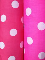 PolyCotton fabric SPOTTED POLKA DOT CERISE, HOT, BRIGHT, PINK WHITE SPOTS 25 MM