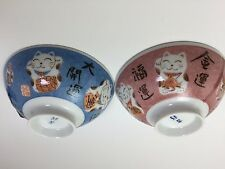 Rice Bowl Cat Set of 2 Mino Cute NEW F/S from Japan