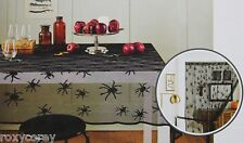 Halloween Black Spider Web Lace Oblong Tablecloth & Door Decor 60x84 NWT
