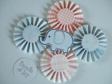 Baby girl and boy set of paper rosettes and die cuts