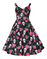 Alternative Gothic Punk 50's Style Pink Rose Skull Rockabilly Dress New 8 - 18