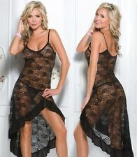 Sexy Black Lingerie Babydoll Night Long Gown  Robe Size 2XL 14 16