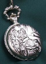 Stunning Silver Plated Pocket Watch Jalopy + Chain!!!!
