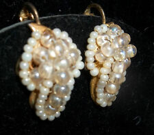 Miriam Haskell seed pearl screw on earrings patented mixed materials gold plate