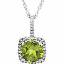 Natural Peridot Gemstone & Genuine Diamonds Pendant Necklace 925 Sterling Silver