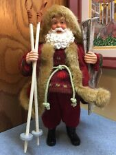 """Snow Skiing Santa 11"""" plastic Figurine with fake fur trimmed felt & knit clothes"""
