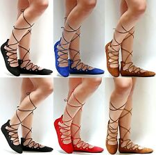 New Women DSA2 Black Blue Red Camel Wrap Lace Up Ballet Flats 5.5 to 10
