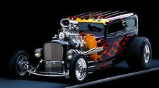 """Black Flamed Street Rod- 42"""" x 24"""" LARGE WALL POSTER PRINT NEW."""
