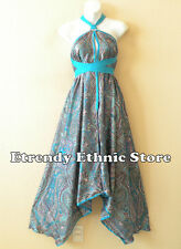 1D90 - Blue Versatile Paisley Silk Multi Wear Scarf Maxi Halter Dress, Maternity