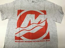 NEW Mercury Marine Quadrant T-Shirt in Gray with Red Mercury Logo, Size Large