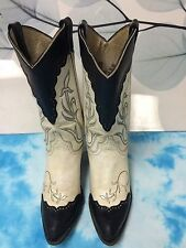 Vintage Black/White Cowboy Boots Womens 6.5 M , White and Black Feathers