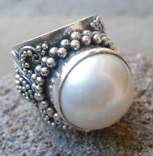 925 Sterling Silver-LH10-Bali Hand Made Ring BIG & White Mabe Pearl Size 8,5