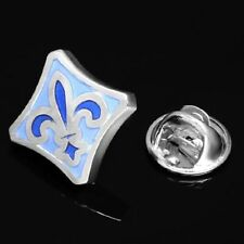 FLEUR DE LYS BLUE & WHITE ENAMEL LAPEL PIN HAT PIN TIE TACK PIN BROOCH