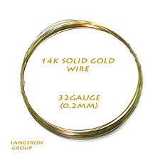 "14K solid yellow gold round wire 32 gauge (0.2mm) - 4"" long (10cm)"