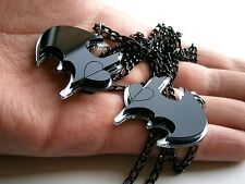 Best Friends Batman Pendants  Batman lasercut Heart Necklaces black and mirror
