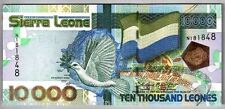 SIERRA LEONE 10000 LEONES P29 2004 BIRD FLAG UNC CURRENCY MONEY BILL BANK NOTE