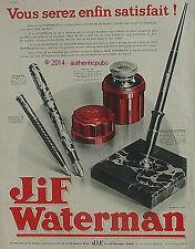 PUBLICITE JIF WATERMAN ENCRE PORTE PLUME ECRITOIRE ETUI LUXE DE 1932 FRENCH AD