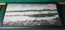 """ANTIQUE / VINTAGE - FRAMED - EMBROIDERY / SEWN TAPESTRY - ISLAND CITY - 23"""" X 12"""