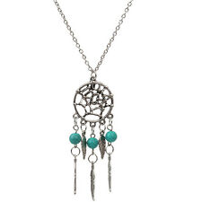 BOHO Silver Dream Catcher Pendant Long Chain Necklace Sweater Chain Jewelry