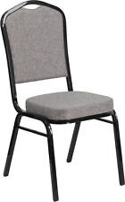 Crown Back Stacking  Banquet Chairs with Gray Fabric and Black Vein Frame
