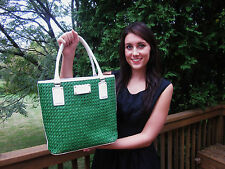 KATE SPADE LARGE LIBERTY ISLAND HAVANA WICKER GREEN TOTE WOVEN BAG BOOK