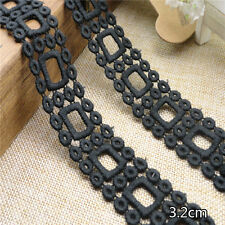 """3 Yards Black Cotton Lace Trim Hollow Embroidered For DIY Craft Wide 1 1/4"""""""