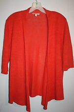 EILEEN FISHER - 100%LINEN  Blazing Coral Cardigan Sweater sz/ M