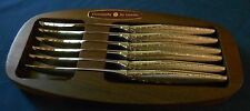 Oneida Stainless VENETIA Set of 6 Steak Knives Knife in Holder Vintage USA