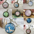 Women Vintage Retro Cameo Charm Long Chain Round Badge Pendant Sweater Necklace