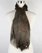New Bottega Veneta Large Brown Black White Line Patterned Silk Scarf 313441 2864